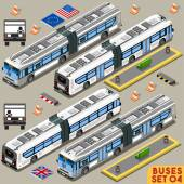 Left Hand Drive Articulated City Bus Line Long Vehicle Transport NEW Bright Palette 3D Flat Vector Icon Set Intercity Tour School Bus Assemble Your Own Isometric World Web Infographic Collection