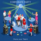 Corporate Party Team Selfie Informal Event Interacting People Unique Isometric Realistic Poses NEW bright palette 3D Flat Vector Set Human Resources Development