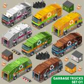 Garbage Truck Collection NEW bright palette 3D Flat Vector Icon Set Isometric Colorful Vehicle Fleet of Sanitation Department or Recycling Industry