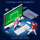 Goal Shooting Football Epic Moments Support your Soccer Team Interacting People Unique Isometric Realistic Poses NEW bright palette 3D Flat Vector Set Magic Nights Football Players on Desktop