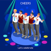 College Confraternity Party Team Selfie Informal Event Interacting People Unique Isometric Realistic Poses NEW bright palette 3D Flat Vector Set Let s celebrate