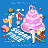 Mixed Types of Sugar Free Delicious Sweets Flat 3d Isometric Gorgeous Pastry Products