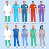 Scrubs Nursing and Physician Uniforms Hospital Clinic Color Code to Recognize Staff NEW bright palette Flat Vector People Health Care Male and Female Nurse or Doctor