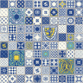 Indigo Blue Tiles Floor Ornament Collection Gorgeous Seamless Patchwork Pattern from Colorful Traditional Painted Tin Glazed Ceramic Tilework Vintage Illustration For web page template background
