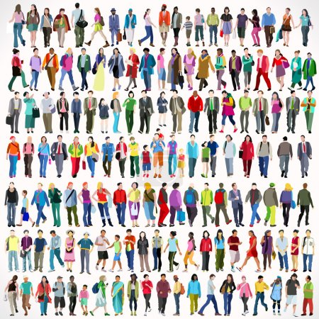 Illustration for Urban Multiethnic People Large Set. Colorful Flat Icon Set of Isolated Walking Female and Male Characters. Asiatic British African Indian Young and Adult Boys and Girls - Royalty Free Image