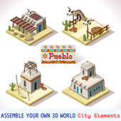 Isometric Western Rural Pueblo Basic Set Tiles Mexican Buildings 3D Flat Vector Icon Set Rural Building Isolated Vector Collection Assemble Your Own 3D World