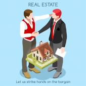 Vector real estate concept 3D flat style Interacting People Unique Isometric Realistic Poses NEW bright palette Handshake between customer realtor that sell house icon