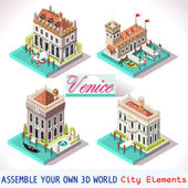 Venice Palace Tiles for Online Strategic Game Insight and Development Isometric Flat 3D Buildings Explore Game Phenomena in the Romantic Antique Atmosphere