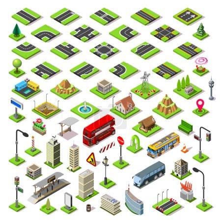 Illustration pour Flat 3d bâtiments isométriques blocs route carreaux de jeu de rue icônes infographie concept ensemble. Plan de la ville éléments carrefour feux lanterne gratte-ciel tram bus boutique. Rassemblez vos propres infographies - image libre de droit