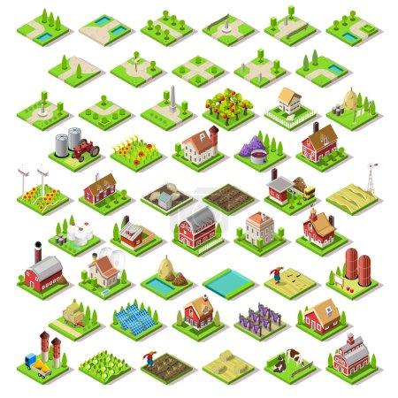 Illustration pour Flat 3d Isometric Farm Buildings City Map Icônes Jeu de carreaux Éléments Set. NOUVELLE palette lumineuse Rural Barn Buildings Isolated on White Vector Collection. Rassemblez votre propre monde 3D - image libre de droit