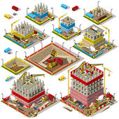 Flat 3d Isometric Buildings Construction Site City Map Icons Game Tile Elements Set Colorful Warehouse Collection Isolated on White Vectors Assemble Your Own 3D World