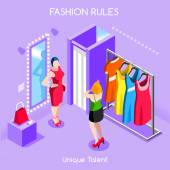 Flat 3d isometric fashion shopping abstract interior dressing room customers clients buyers workers staff bright colorful concept vector infographics Creative business people collection
