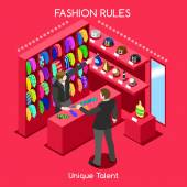 Flat 3d isometric fashion shopping abstract interior room necktie customers clients buyers workers staff bright colorful concept vector infographics Creative business people collection