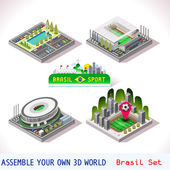 Vector isometric Stadium Sport Icon Set Brasil Brasilia Goias Estadio National Sao Paulo Arena Corinthians Flat 3D City Map Elements Isometry Isometric Infographic Game Tiles Collection