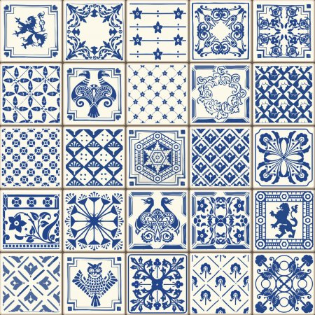 Illustration for Indigo Blue Tiles Floor Ornament Collection. Gorgeous Seamless Patchwork Pattern from Colorful Traditional Painted Tin Glazed Ceramic Tilework Vintage Illustration. For web page template background - Royalty Free Image