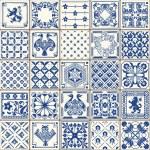 Indigo Blue Tiles Floor Ornament Collection. Gorge...