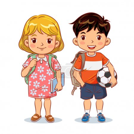 Illustration for Cute boy and girl with backpack holding book and football ready going to school. Vector illustration - Royalty Free Image