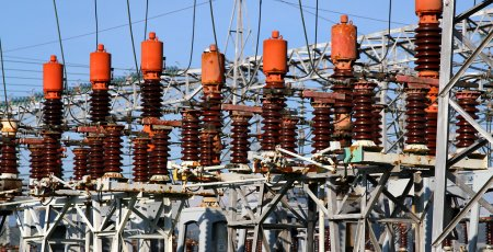 Photo for Detail of the electrical system of the power plant to produce electricity - Royalty Free Image