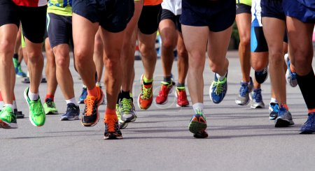 runners to race to the finish line of the marathon