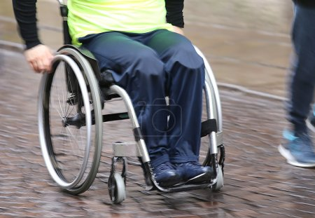 disabled athlete with the wheelchair during a competition