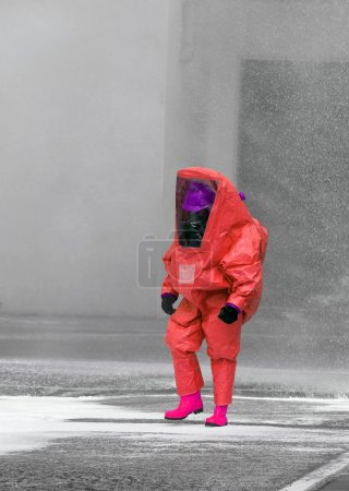 Firefighter with protective suit