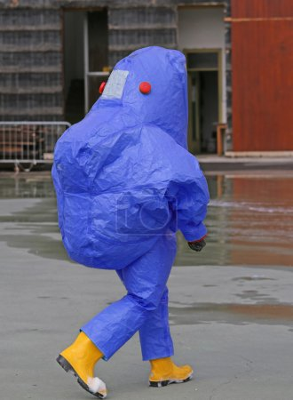 Firefighter with protective suit against biological risk