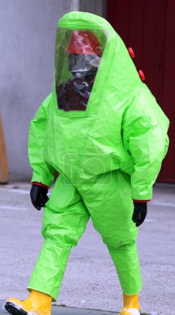 Man with green protective suit