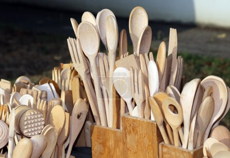 spoons and forks in the wood craftsman workshop