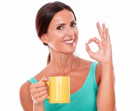 young woman with coffee mug