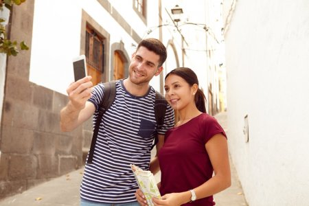 Young tourist couple on vacation