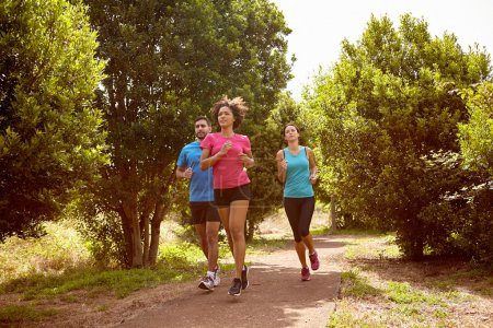 Three joggers on running trail