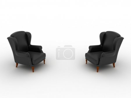 Photo for 3D image of two chairs on white background. - Royalty Free Image