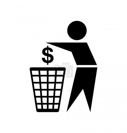 Illustration for Do not waste your money icon on white background - Royalty Free Image