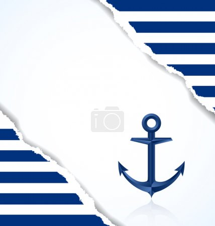 Illustration for Nautical background with anchor and blue and white stripes - Royalty Free Image