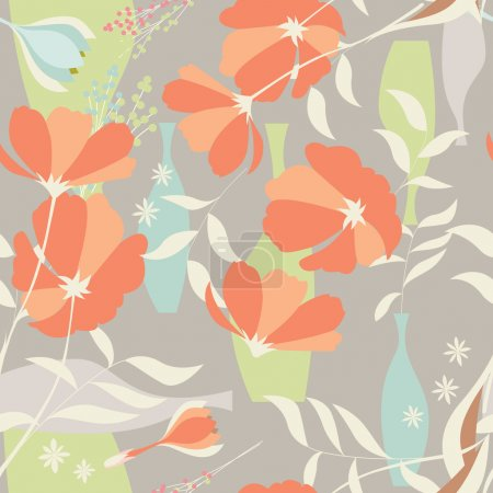 Illustration for Vector seamless pattern with floral elements, spring flowers, poppies and vases, vector illustration - Royalty Free Image