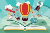 """Постер, картина, фотообои """"понятие воображения - открытая книга с воздушного шара, ракеты и самолет вылетает"""""""