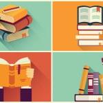 Set of books in flat design, vector illustration