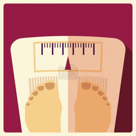 Illustration for Bathroom weight scales with feet, flat design, vector illustration - Royalty Free Image