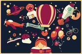 Imagination concept - girl reading a book with air balloon rocket and airplane flying out night sky vector illustration