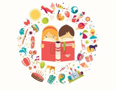 Illustration pour Concept d'imagination, garçon et fille lisant un livre objets volants, illustration vectorielle - image libre de droit