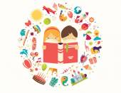 Imagination concept boy and girl reading a book objects flying out vector illustration