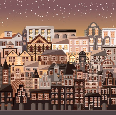 Illustration for Collection of buildings and houses, old architecture, urban scene, vector illustration - Royalty Free Image