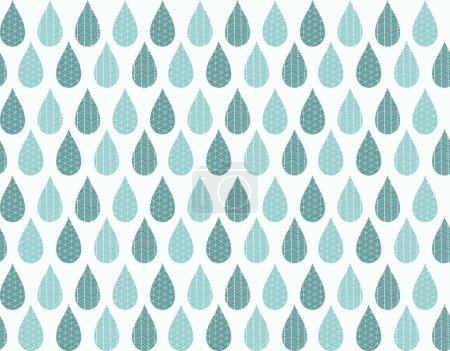 Seamless pattern with ornamental rain drops and line drawings