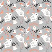 Seamless pattern with rabbits lady bugs birds and flowers