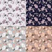 Collection of four seamless patterns with rabbits lady bugs birds and flowers vector illustration