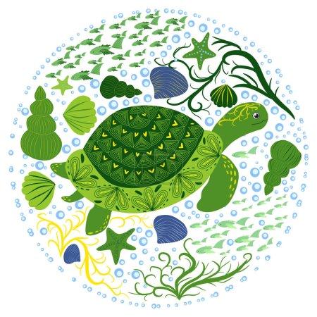 Photo pour Tortue verte de style scandinave avec coquillage peint dessiné à la main, parmi les algues, étoiles de mer, coquillages, poissons - image libre de droit