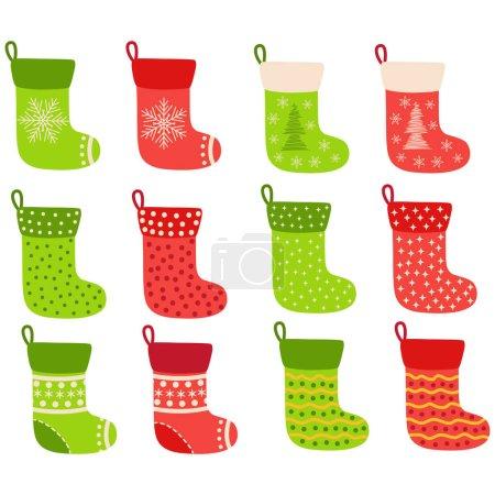 Illustration pour Bas de Noël. Stickers, clipart pour Noël. Chaussettes rouges vertes avec flocons de neige, sapin de Noël. Cadeaux vacances - image libre de droit
