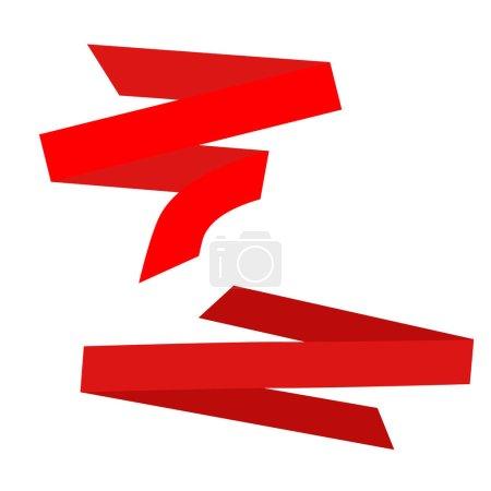 Illustration pour Bannière de ruban de papier courbé rouge. modèle de ruban de papier pour la publicité promotionnelle et de vente - image libre de droit