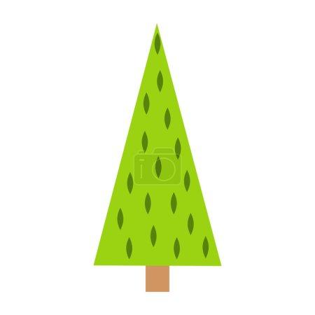 Illustration pour Arbre de Noël. Dessin à la main sapin, ornements de Noël. Affiche de vacances avec symboles de Noël. - image libre de droit
