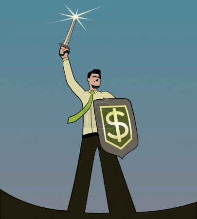Illustration for A businessman with a sword and a dollar shield - Royalty Free Image